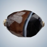 Banded Agate Objet d'Art with Moonstones and 18K Gold