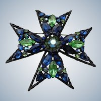 Designer Brooch Weiss Maltese Cross Pin/Pendant 1930/Bling in the New Year!
