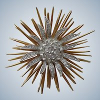 Spectacular Sunburst Pin/Brooch Design w/ Gold and Rhinestones 1930