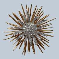 Spectacular Sunburst Pin/Brooch Design w/ Gold and Rhinestones 1930