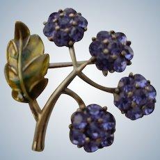 Designer Brooch with Purple Flowers/Gold Leaf Monet 1920