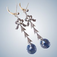 Stunning Faceted Rock Crystal Earrings with Pearl and White Topaz on Sterling