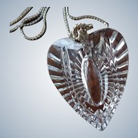 Waterford Crystal Heart Pendant w/ Sterling Chain