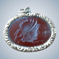 Genuine Carnelian Pendant with Carved Roman Soldier in 14K G.F. 1920