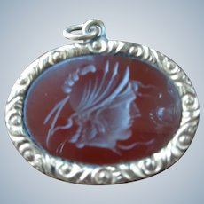 SALE Genuine Carnelian Pendant with Carved Roman Soldier in 14K G.F. 1920