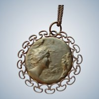 "Art Nouveau Pendant with Chain (1890-1910) 14K G.F. 20"" Chain"