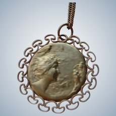 """Art Nouveau Pendant with Chain (1890-1910) 14K G.F. 20"""" Chain"""