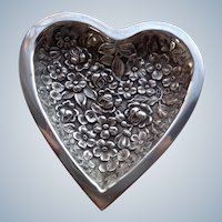 Iconic Stieff Heart Dish in Sterling Silver in Repousse Pattern
