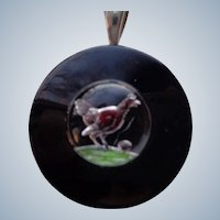 Whimical Chicken and Egg on Glass with Onyx Disc in Sterling Silver