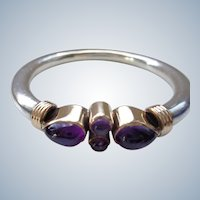 Sterling Bangle with Genuine Amethysts in Silver Gilt Setting