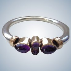 SALE 50% OFF Sterling Bangle with Genuine Amethyst Stones