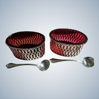 Elegant Pair Sterling Condiment Dishes with Red Liners and Sterling Spoons