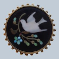Pietra Dura Pin/Brooch in 10 K Gold Early 1900's Italian