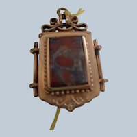 SALE Victorian Fob/Pendant (1880-1910) with Agate and Onyx w/ 2 Picture Locket