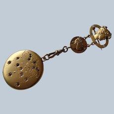 SALE Stunning Art Nouveau Locket Pin/Brooch in 14K G.F. 1890-1910