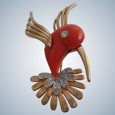"Designer Pin/Brooch of ""Coral"" Bird by Boucher 1960"