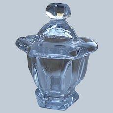 Crystal Baccarat Mustard/Jam Jar with Silver Spoon