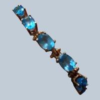 Final Sale Stunning Tennis Bracelet w/ Genuine Blue Topaz, 14K Gold