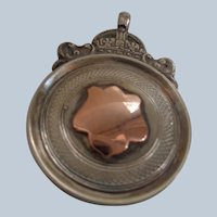 English Fob/Pendant Sterling Silver + 9 Carat Gold 1951