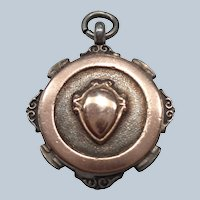 English Fob/ Charm/ Pendant in Sterling + 9 C Gold 1925