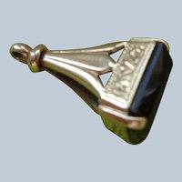 Rare 9 C Solid Gold Fob/Pendant/Charm with Smoky Quartz (Topaz)