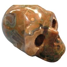Multi-Colored Carved Hardstone Skull -  a piece of sculpture