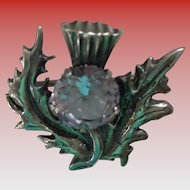 Scottish Sterling Thistle Pin/Brooch with Genuine Amethyst