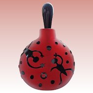 Art Glass Red/Black Perfume Bottle