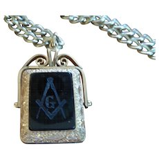Masonic Two-Sided Fob/Double Photo Frame w/Chain