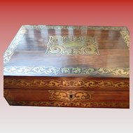 Victorian (1860-1880) Rosewood and Brass Document Box with Leather Document Pouch