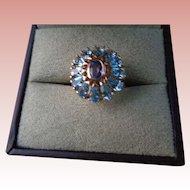 Blue Topaz/Amethyst Starburst Ring 14K