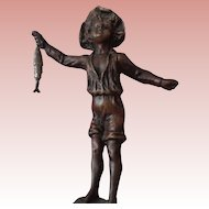 Adorable Bronze Statue,Barefoot Boy with Cheek of Tan, Signed