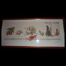 """Original Boris O'Keefe Signed Print, """"Dirty Dogs of Paris"""" Hand-Colored"""