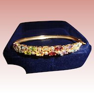 NEW PRICE Semi-Precious Five-Stone Gold Bangle Bracelet