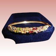 Semi-Precious Five-Stone Gold Bangle Bracelet