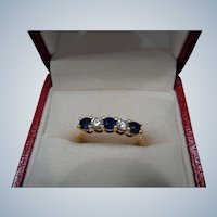 FINAL SALE 50% OFF 18k Sapphire/Diamond Engagement/Wedding Ring Size 7 1/2