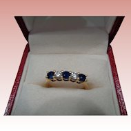 18k Sapphire/Diamond Engagement/Wedding Ring Size 7 1/2