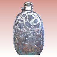 Antique Art Nouveau Glass Flask with Sterling Overlay 1890-1910
