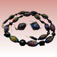 50% OFF Vintage Murano Glass Hand-Painted & Blown Bead Set: Necklace & Earrings