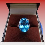 Gorgeous Topaz Ring in 9 c Rose Gold with Diamonds Size 7