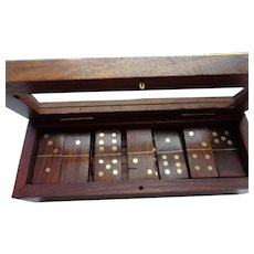 English Wooden Set of Dominoes in Mahogany and Brass Box