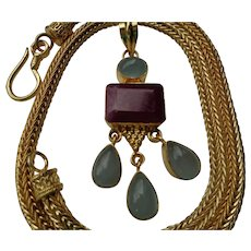Ruby and Moonstone Necklace with 18K Gold Filled Chain