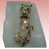 Stylized Panther Pin/Brooch with Rhinestone Eyes, Collar and Body
