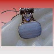 SALE 50% OFF Sterling Silver Pendant and Chain w/ Banded Agate and Quartz Stones
