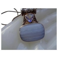 50 % OFF Sterling Silver Pendant and Chain w/ Banded Agate and Quartz Stones