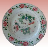 Late 18th c./Early 19th c. Chinese Porcelain Famille Rose Plate with Butterflies