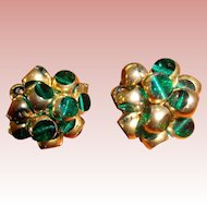 Artisan Made Green Glass Cuff Links with Gold Twists