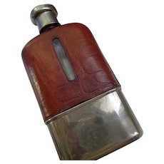 Vintage English Leather/Glass Flask early 1900's