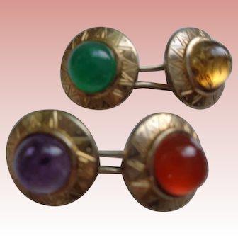 Silver Gilt Cuff Links w/ Semi-Precious Stones 1930