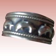 Men's Sterling Silver Band/Ring with Dolphins 10 1/2